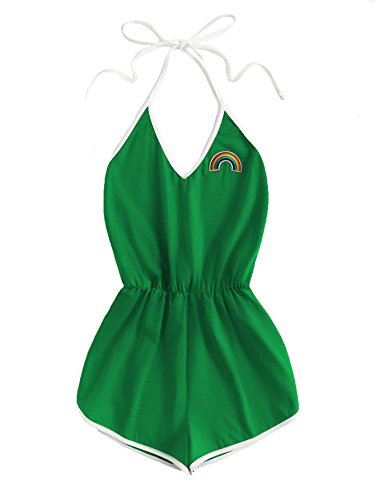 SweatyRocks Women's Halter Sleeveless Short Jumpsuit Rompers Backless Playsuit Green XS