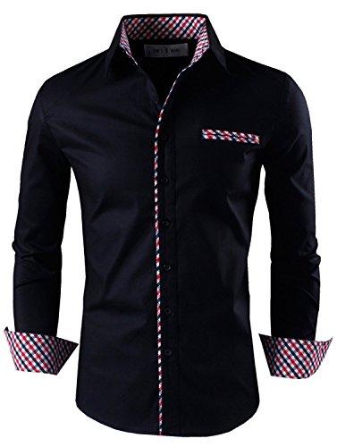 Tom's Ware Mens Premium Casual Inner Contrast Dress Shirt TWNMS310S-1-BLACK-M