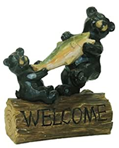 allen group intl inc ag53977 Bears Sitting On A Stump With A Fish Resin Figure
