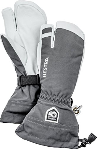 Hestra Mens and Womes Ski Gloves: Army Leather 3-Finger Winter Mitten, Grey, 10