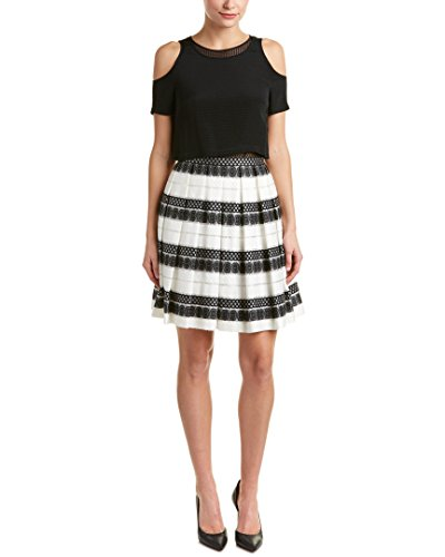 Karen Millen Womens Pleated Silk & Linen-Trim A-Line Dress, US 6/UK 10, - Millen Karen Uk