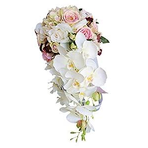 MonkeyJack Romantic Cascade Bridal Bouquet Mixed Silk Rose Orchid Wedding Party Flower Arrangement - 4 45