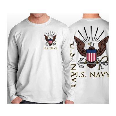 Crest White Long Sleeve (US Navy Long Sleeve T-Shirt, White, XX-Large)