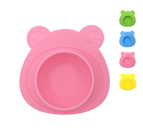 IoneStar One-Piece Mini Silicone Placemat Bowl Non-Toxic for Baby BPA Free, Bon-Slip Round Food Bowl with Suction for Kids Toddlers Childrens Dining,Reusable Collapsible Portable for Travel (Sorbent Mini)