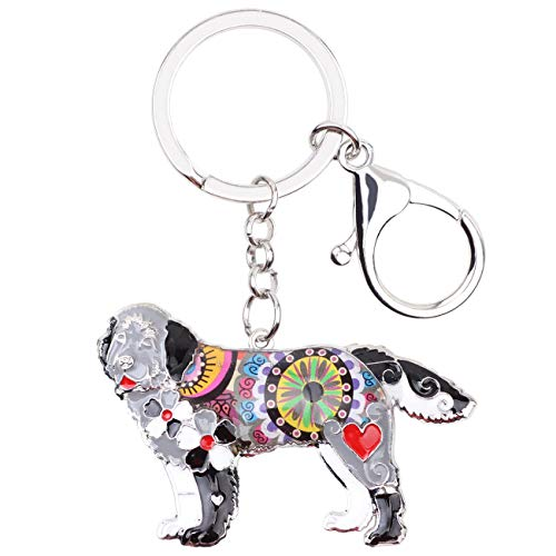 Newfoundland Dog Charm - WEVENI Enamel Alloy Newfoundland Dog Key Chain Ring New Fashion Animal Jewelry for Women Handbag Charm Gift (Grey)