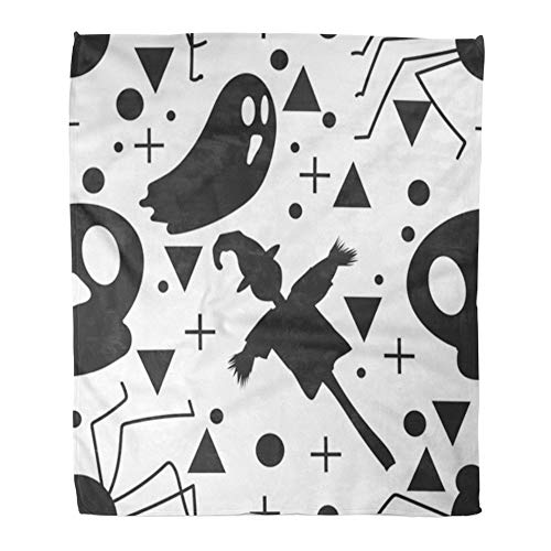 Emvency Throw Blanket Warm Cozy Print Flannel Baby Halloween Ghost and The Scarecrow Childish for Festive Cartoon Comfortable Soft for Bed Sofa and Couch 50x60 Inches -