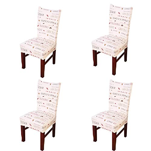 Vonty Geometric Pattern Stretchy Dining Chair Covers Floral Removable Chair Slipcover Protector Set of 4, Mocha