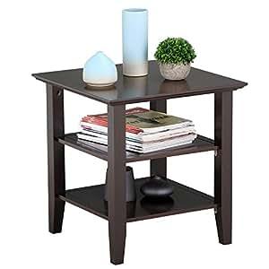 Topeakmart 3 Tier Sofa Side Table Wood Coffee Table Bedside Nightstand Bedroom Living Room Sofa Side End Table Furnture, Espresso
