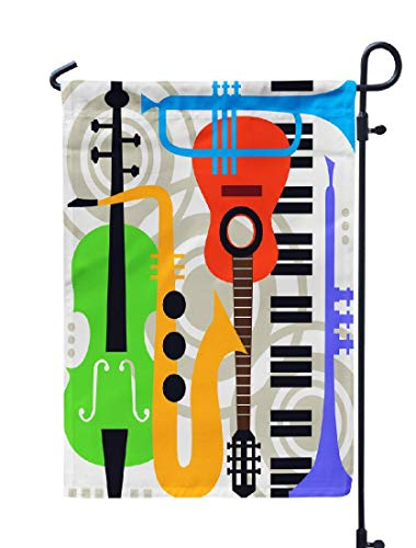 Soopat Jazz Music Seasonal Flag, Abstract Music Music Jazz Abstract Play Sax Saxophone Weatherproof Double Stitched Outdoor Decorative Flags for Garden Yard 12''L x 18''W Welcome Garden Flag