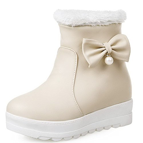Toe Solid Boots Closed Heels AgooLar Material Pull Round Beige On Women's Low Soft q4Ptv