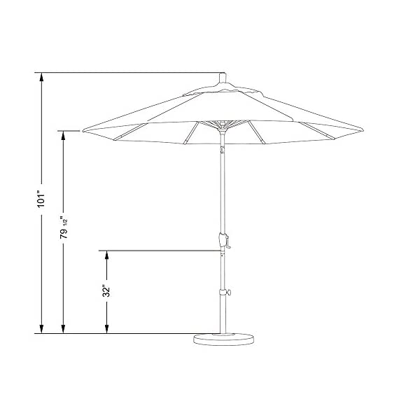 "California Umbrella GSPT908117-F95 Pacific Trail Series Patio Umbrella, Gray/White - Overall dimensions (L x w x H): 108"" x 108"" x 101"" Deluxe crank lift system with push button tilt Vibrant, solution dyed fabric allows the canopy to stand up to the elements - shades-parasols, patio-furniture, patio - 41vsSHi03lL. SS570  -"