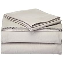 Pointehaven Heavy Weight Solid Flannel 100-Percent Cotton Sheet Set, Heather Gray, Queen