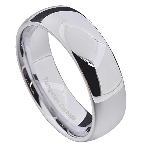 FlameReflection White Tungsten Carbide Polished Classic Dome Men Women Wedding Band 7mm Size (7 Mm Tungsten Dome)