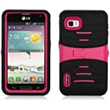 AIMO Rugged Wave Armor Case w/ Built-in Kickstand for LG Optimus F3 MS659 [T-Mobile, MetroPCS] (Black+Hot Pink)