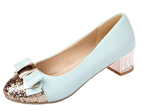 On Blue Pumps Pull Assorted Heels Closed Shoes Toe Colors Women's WeiPoot Round Low wFqfOZ