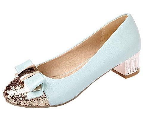 Voguezone009 Pu Kvinners Lukket Toe Blå Lave sko Pumper Farger Runde Diverse Hæler CT7Cwq