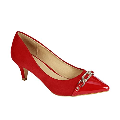 (Coshare Women's Fashion Patent Embellished Front Low Heel Pumps, Red, 8 M US)