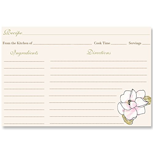 Recipe Cards, Magnolia, Flowers, Painted, Watercolor, Pink, Burlap, Bridal Shower, Housewarming, Gift, Floral, Country, Wedding, Double Sided with Lines, Size 4 x 6, 24 Printed Cards