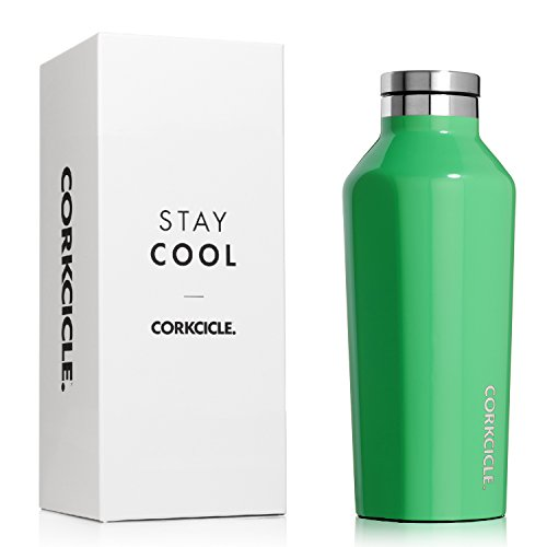 Corkcicle Canteen Classic Collection-Water Bottle & Thermos-Triple Insulated Shatterproof Stainless Steel, 9 oz, Gloss Caribbean Green