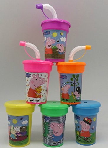 6 Peppa Pig Stickers Birthday Sipper Cups with lids Party Favor Cups by Neon