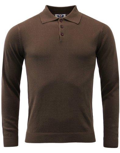 Brando Retro 1960s Mod Mens Knitted Polo Brown 46 Amazon Co Uk