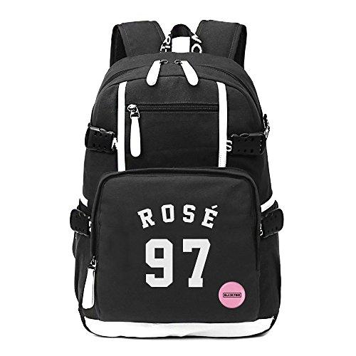 Fanstown Kpop BLACKPINK Hiphop Backpack pin botton set canvas Messenger bag with lomo cards (ROSE) by Fanstown