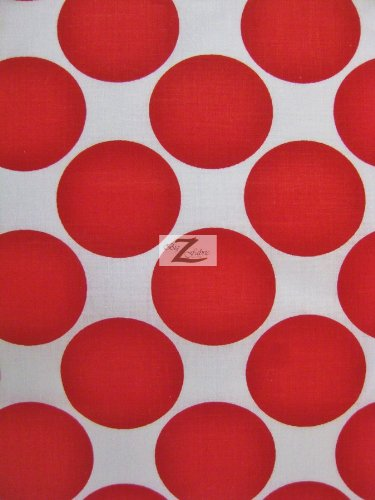 WHITE/RED GIANT POLKA DOTS PRINT POLY COTTON FABRIC 58