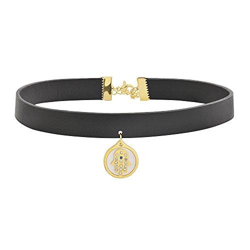 Edforce Women's Black Leather Adjustable Leather Choker Band Necklace Neckband Collar Pendant (Gold Hamasa Evil Eye)