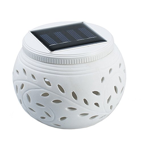 comboss Round Solar Lights Outdoor, White Hollow Out Ceramic Lampshade, Decorative 2 Mode Lighting for Balcony Garden Lawn by comboss