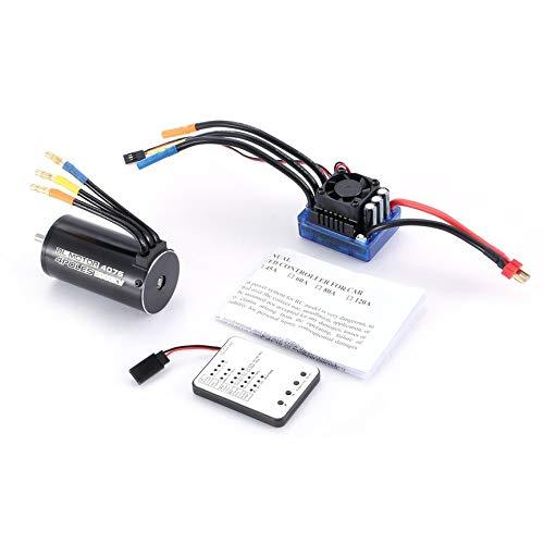 4076 2000KV 4 Poles Sensorless Brushless Motor 120A ESC with LED Programming Card Combo Set for 1/8 RC Car Truck
