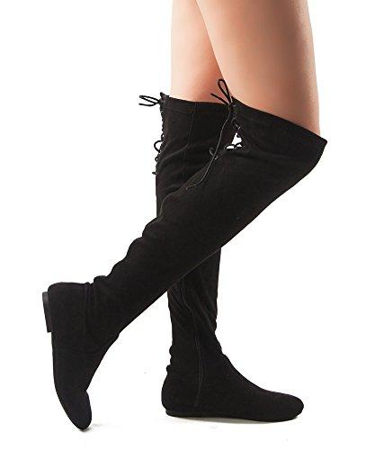 RF RAUM DER MODE Frauen Mode Bequeme Vegane Wildleder Seitlichem Reißverschluss Overknee Stiefel Schwarz Wildleder-n20