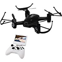 Drone Hacks 5.8G FPV 2.4GHz 6Axis with 2.0MP Camera High Hold Mode One Key Return, 3D Flip RC Quadcopter L8HF (Black)