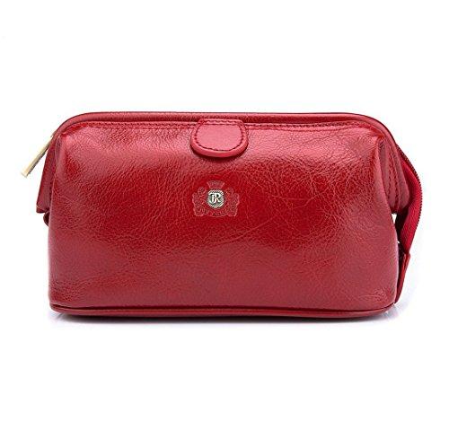 WITTCHEN Sacchetto cosmetico - Rosso | 12x21 cm, Pelle di grano, Roma - 22-3-004-3