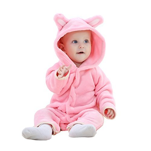 TSHSUN Baby Girls Boys Toddler Romper Bear Outfit Flannel Style Jumpsuit Autumn & Winter Cosplay Clothes(0-3 Months, Pink) -