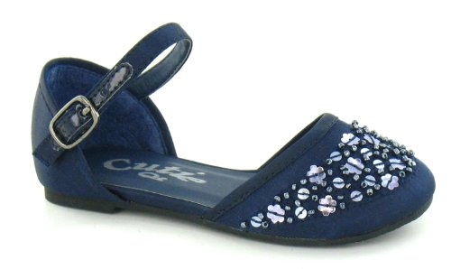 Shoe On Navy Spot Waisted Flat Sequin Strap Ankle Blue zvtRqaRxwP