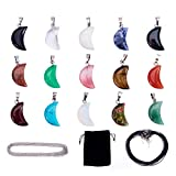 SUNNYCLUE 15pcs Crescent Moon Shape Healing Natural Chakra Beads Gemstone Pendants with 15 Strands Leather Cord Necklace and 15 Strands Cross Chains for DIY Necklace Jewelry Making
