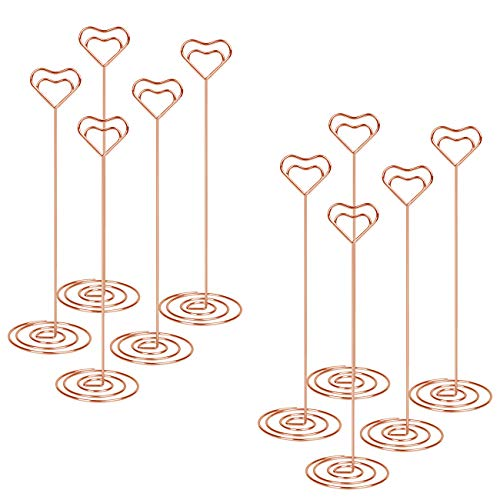 Table Photo Holder Volla Table Number Stand Place Card Holders Wire Metal Memo Clip Holder 8.6 Inch for Photo Picture Note Name Menu - 10pcs(Rose Gold)
