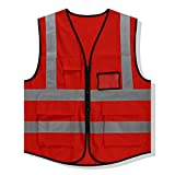 XFentech Reflective Vest - Adult Safety Vest Waistcoat with Storage Bag, Red