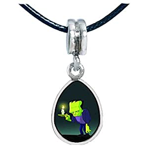 Chicforest Silver Plated Halloween frankenstein candle Photo Angel Tears Charm Beads Fits Pandora Charms