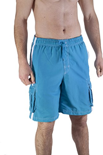Mens Long Swim Trunk With Cargo Pockets (3X Large, Pool Blue)