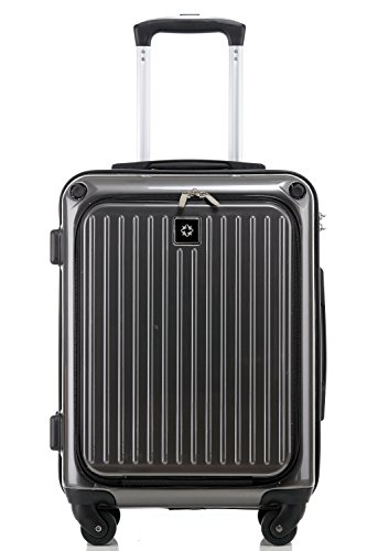 Travelhouse Lightweight ABS Hard shell 4 Wheels Travel Trolley Luggage set Suitcase Cabin Scales Large Baggage (S, Grey)