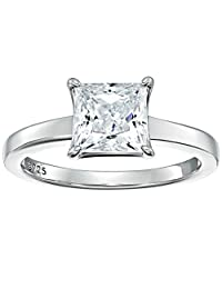 Platinum-Plated Sterling Silver Swarovski Zirconia 3 cttw Princess Solitaire Ring
