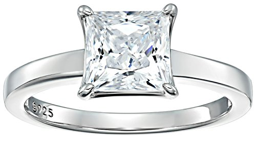 Platinum-plated Sterling Silver Princess-Cut Solitaire Ring made with Swarovski Zirconia (3 cttw), Size 9