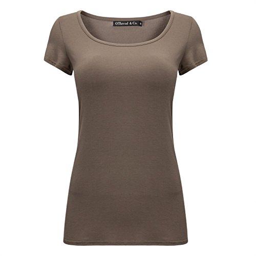 OThread & Co. Women's Short Sleeve T-Shirt Scoop Neck Basic Layer Spandex Shirts (X-Large, Coffee)