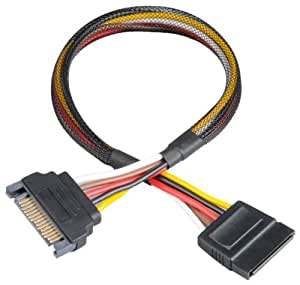 Akasa Sata Power - Cable (Macho/hembra, Negro, 0,3 m)
