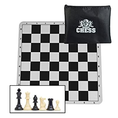We Games Compact Tournament Chess Set with Black Silicone Chess Board & Plastic Tournament Pieces with 3 3/4 in. King, 20 in. Board