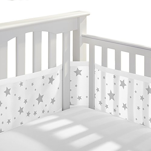 BreathableBaby Classic Breathable Mesh Crib Liner - Starlight White and Gray (Floor Slatted)