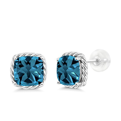 Gem Stone King 10K White Gold London Blue Topaz Stud Earrings, 3.70 Cttw Cushion Cut 7MM