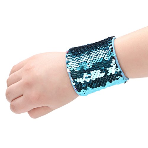 Mermaid Bracelet OULII Reversible Charm Sequins Slap Wristband