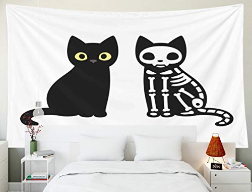 Bisead Beach Tapestry, Map Art Tapestry Cartoon Black Cat Drawing Skeleton Cute Funny Halloween Clip Art Wall Hanging Gifts for Bedroom Dorm Décor